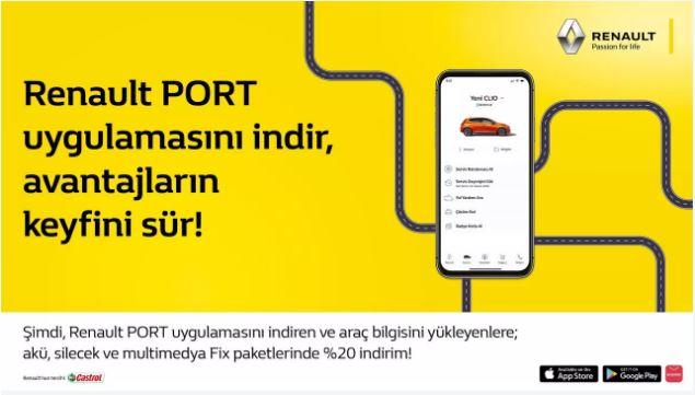 Renault PORT uygulamasını indir, avantajların keyfini sür!