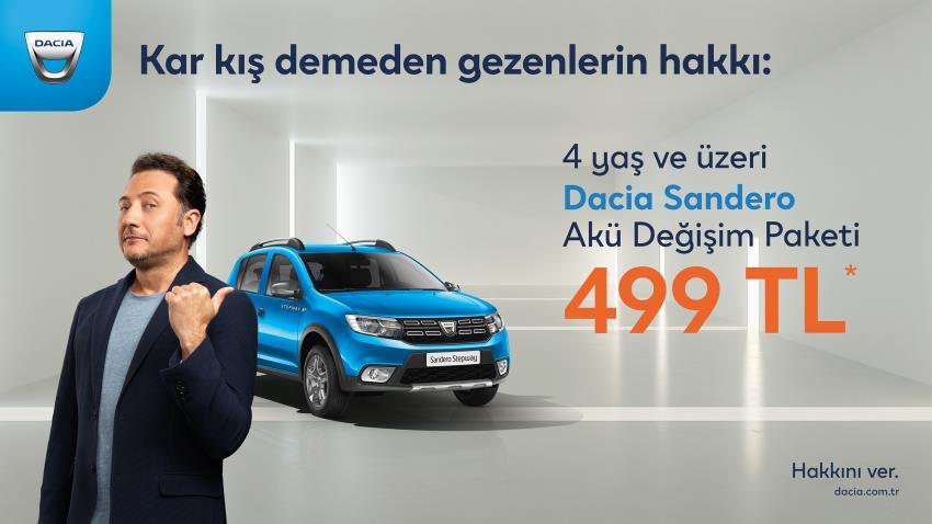 4 yaş ve üzeri Dacia Sandero Akü Değişim Paketi 499 TL*