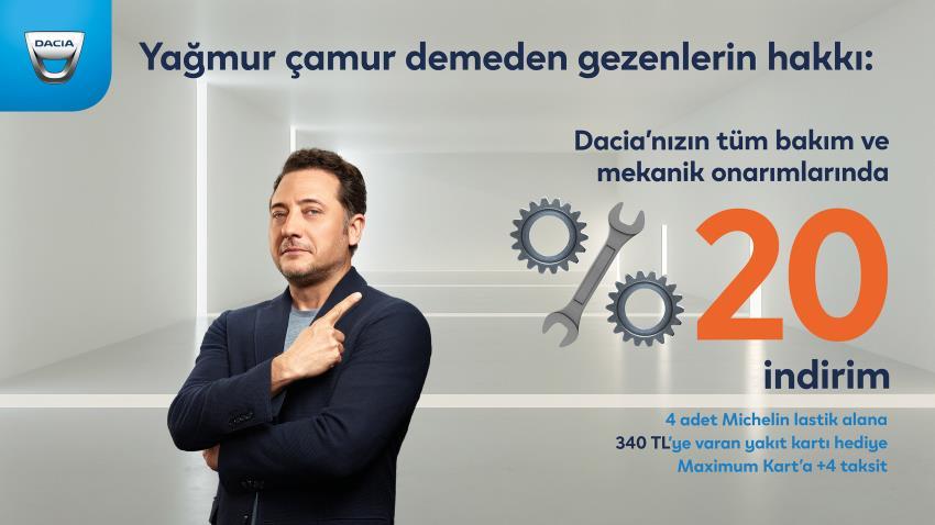 Dacia'nızın tüm bakım ve mekanik onarımlarında %20 indirim