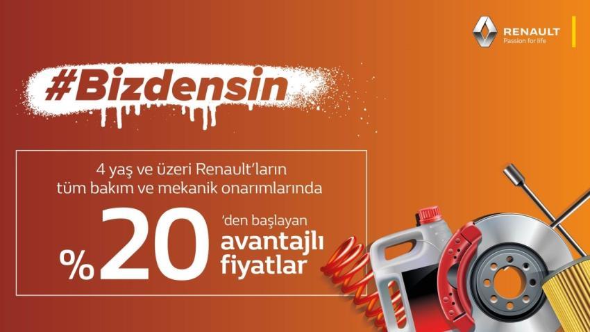 4 yaş ve üzeri Renault'ların tüm bakım ve mekanik onarımlarında %20'den başlayan avantajlı fiyatlar